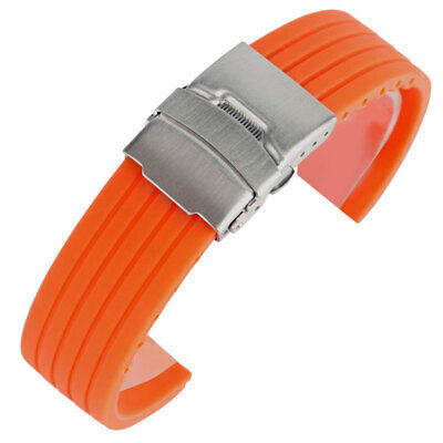20/22/24mm Sport Watch Strap Soft Waterproof Orange Silicone Band  for Watches