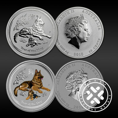 Lot of 2 2017 Australian 1/2 oz Silver Coin Year of The Dog FREE Shipping