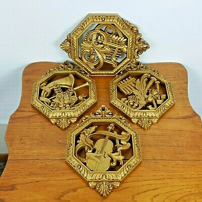 Vintage Syroco Set of 4 Wall Plaques Ornate Musical Gold Homco