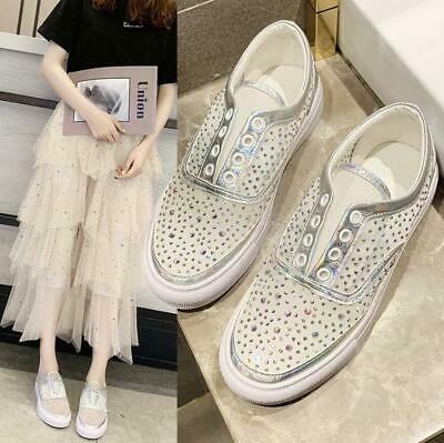 04ff51baa Womens Casual Sneakers Flat Slip On Diamante Mesh Trainers Pumps Sports  Shoes