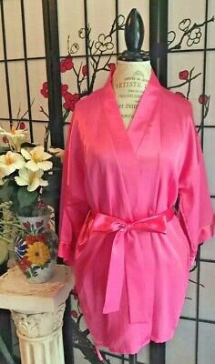 Frederick's Of Hollywood Wom S Pink Liquid Satin Sexy Short Robe LOUNGEWEAR