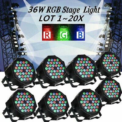 36W 36LED RGB Stage Light DMX Flat Par Lamp Club For DJ Disco Party Lighting LOT