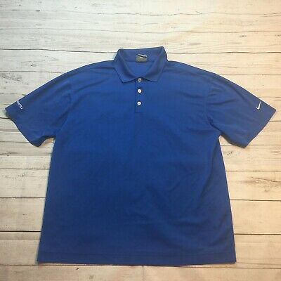 Nike Golf Subaru Logo Dri Fit Embroidered Polo Casual Shirt Blue Mens Size L #18