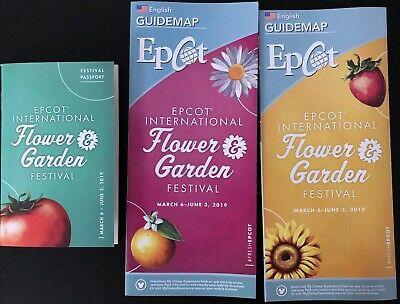 Walt Disney World Epcot 2019 Flower & Garden Festival MAP and PASSPORT