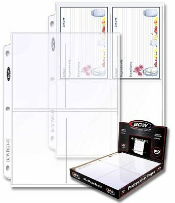 """Postcard BCW Protective Pages 4 pocket Standard Size 3.5""""x5.25"""" Box 100 Pages"""