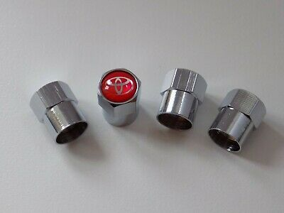 Toyota (red) Chrome Wheel Tyre Valve Dust Caps for Prius Yaris Aygo C-HR Auris