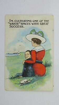 1920s Vintage Saucy Comic Postcard Edwardian Gardening Allotment Fashion Hat BBW