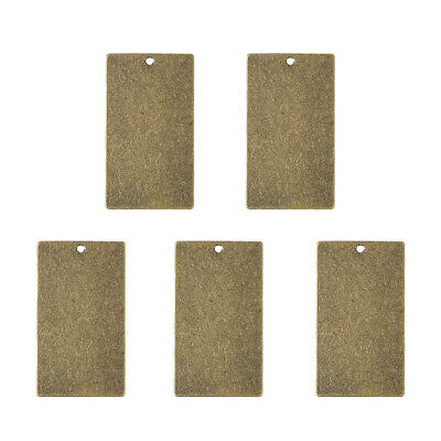 5pcs Metal Tags Brass Blank Stamping Tag Pendants Rectangle Antique Bronze
