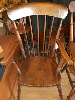 Antique Victorian Slat Back Elm & Beech Farmhouse Elbow Chair Carver Armchair