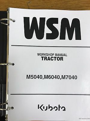 KUBOTA M5040 M5140 M6040 M7040 Tractor Workshop Service Manual 9Y011 on