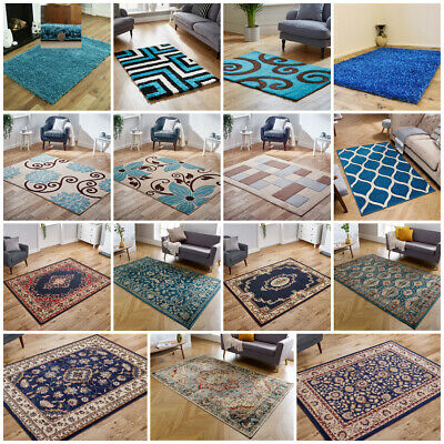 Small Extra Large Runner Thick Shaggy Carved Teal Blue Traditional Faded Rugs