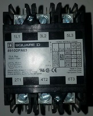 Square D 08081 3 Pole 60 Amp 120V Definite Purpose Contactor