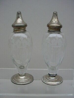 Signed HAWKES ETCHED CRYSTAL GLASS STERLING SILVER SALT & PEPPER SHAKERS 8 PWTS