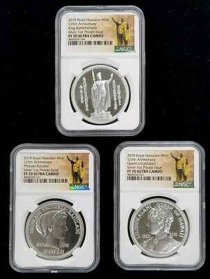 2018 Royal Hawaiian Mint 125th Anniversary 3 Coin Silver Set NGC PF70