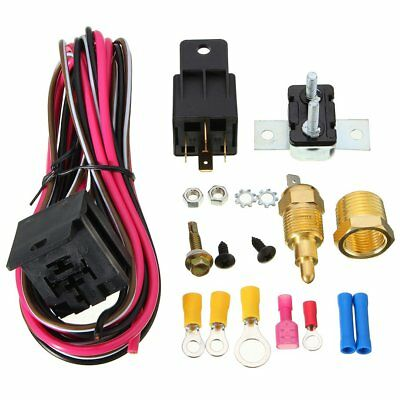 185° Electric Fan Wiring Install Kit Relay Harness Thermostat 50 Amp SBC BBC AW&