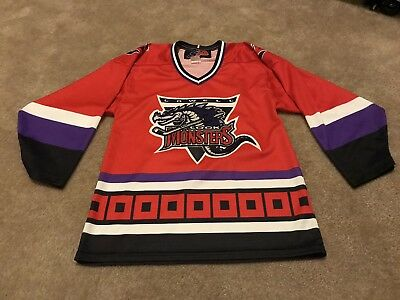 1b19f1c6720 LOWELL LOCK MONSTERS Vintage AHL Hockey SEWN Jersey Minor League Size Small  SP