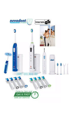 Nevadent Sonic Electric Toothbrush Li-Ion Rechargeable 3 Settings, 8 Brush Heads