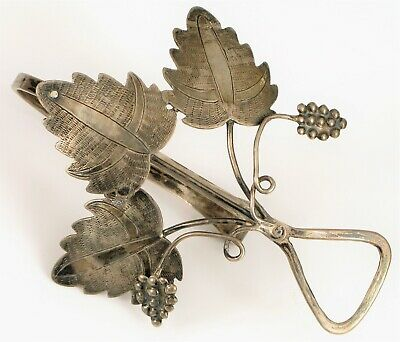 Antique Sterling Silver Grape Vine & Leaves Dinner Napkin Clip ? Wine Accesory ?