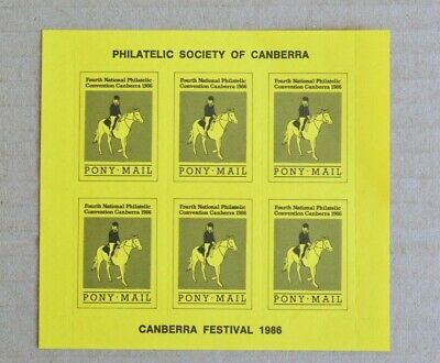 Block Of 6 1986 Canberra Pony Mail Cinderella Labels MUH
