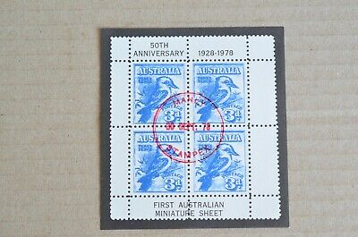 Manly Stampex 1978 50th Anniversary Ist Australian Mini Sheet Cinderella Stamps