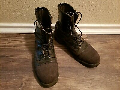 36f93030 VINTAGE RED WING Black Leather Steel Toe Boots. Made in the USA ...