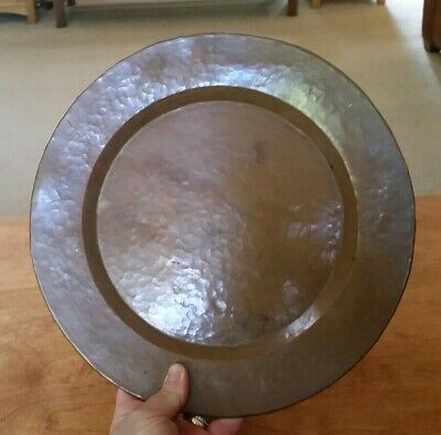 Arts & Crafts Hand Hammered Solid Copper Large Charger Plate Antique