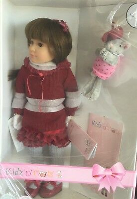 """LENA 18"""" Vinyl Jointed Doll by Kidz 'n' Cats.NEW IN BOX WITH BEAR.COLLECTORS"""