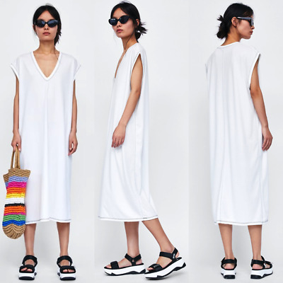 0225dc14 ZARA Dress w/ Contrasting Topstitching V-Neck Long White Dress Size M BNWT