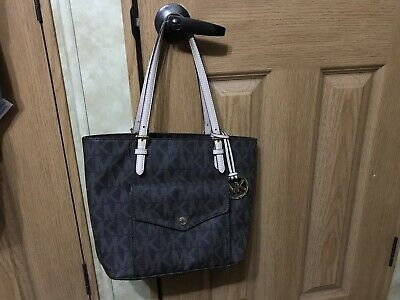 90ce061ae34c Authentic Michael Kors Classic MK Tote Handbag In Beige And Brown Free  Shipping!