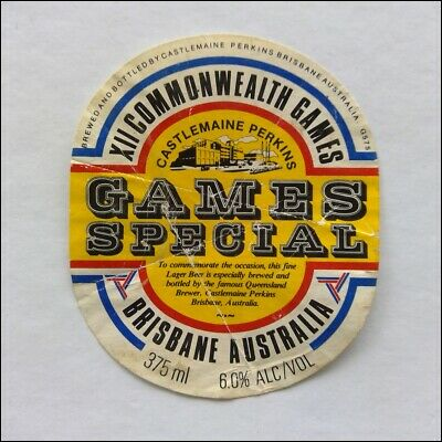 XII Commonwealth Games Special Castlemaine Perkins Beer Label (WL3)