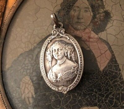 Antique French Silver Bronze Rare Nouveau Incredible Charm Pendant Aristocrat