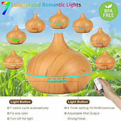 Ultrasonic Oil Essential Aroma Diffuser Humidifier Air Mist Purifier LED Lamp US