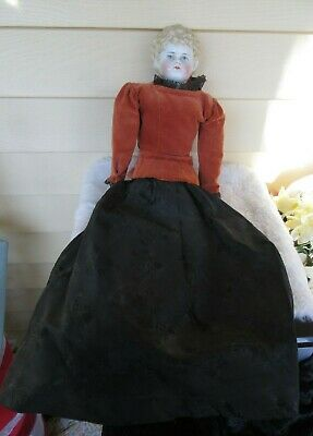 """Antique China Head Doll BLONDE CURLY  22"""" WITH CLOTH BODY VINTAGE CLOTHING"""