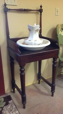 Beautiful ANTIQUE Federal Cherry Wood Bowl & Pitcher BASIN Wash STAND Towel Bar