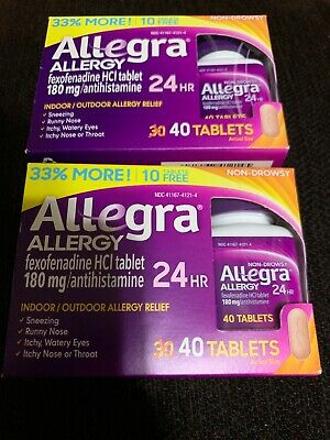 2x a Allegra 24 Hr - 180mg - 40 Tablets/each - SHIPS FAST - 12/19+