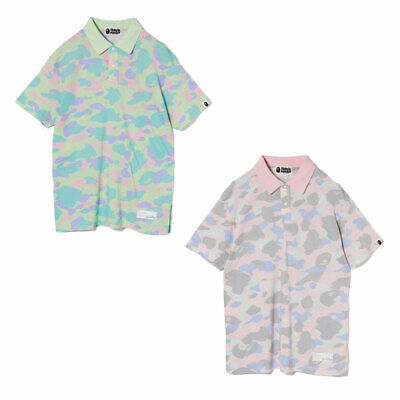 a1ac6064 A BATHING APE Ladies' PASTEL MULTI CAMO OVERSIZED POLO Shirt Tee 2colors New