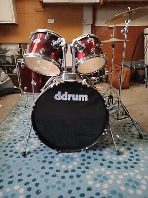5 Piece red Drum Kit Full Size Complete Set Stool Cymbal Snare Drum