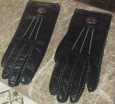 Christian Dior Cd 100% Authentic Leather Gloves Black