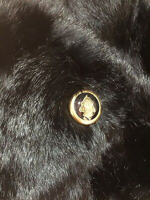 Gucci 100% Authentic Black Runway Fur With Gold Gucci Button Collar / Scarf
