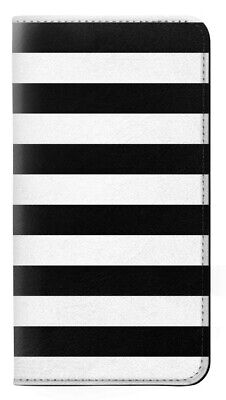 W1596 Black and White Striped Flip Hulle Tasche Klappetui Smartphone