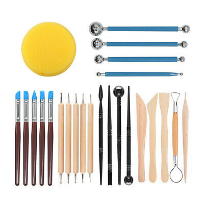 24Pcs/Set Pottery Tools Polymer Clay Sculpting Wax Modeling Carving Ceramic Kit