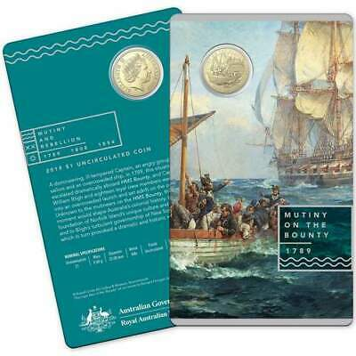 2019 $1 Mutiny on the Bounty Uncirculated Coin Carded - Mutiny and Rebellion