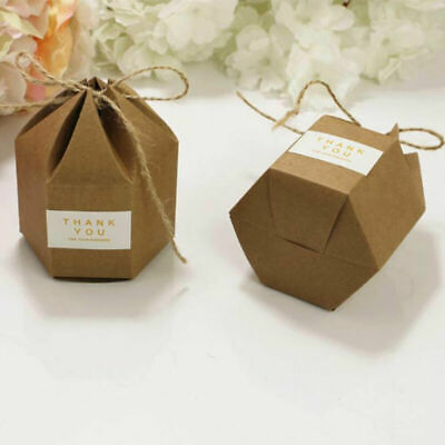 100pcs Luxury Rustic Wedding Favour Favor Sweet Hex Cake Gift Box Candy Boxes