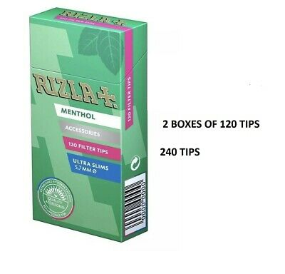 5 x RIZLA MENTHOL ULTRA SLIM FILTER TIPS 5.7mm CIGARETTE TOBACCO TIPS 120 IN BOX