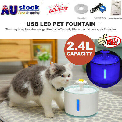 LED USB Automatic Electric Pet Fountain Water Dispenser Drinking Bowl Cat Dog
