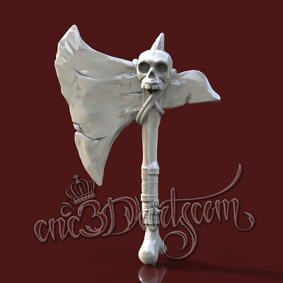 3D Model STL for CNC Router Artcam Aspire Pirate Axe 4 Axis Cut3D Vcarve