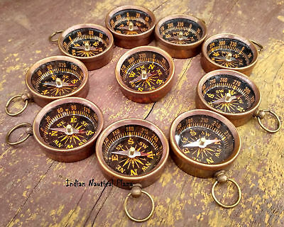 Lot of 100 Pcs Brass Working Compass Necklace Style -Nautical Maritime Keychain
