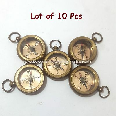 Lot Of 10 Pcs Brass Nautical Style Copper Dial Pocket Key Chain Compass