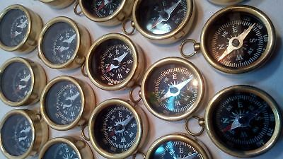 Lot Of 10 Pcs Vintage Maritime Antique Brass Pocket Compass Collectible Gift