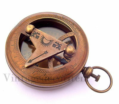 Lot Of 100 Pcs Antique Brass Sundial Push Button Compass